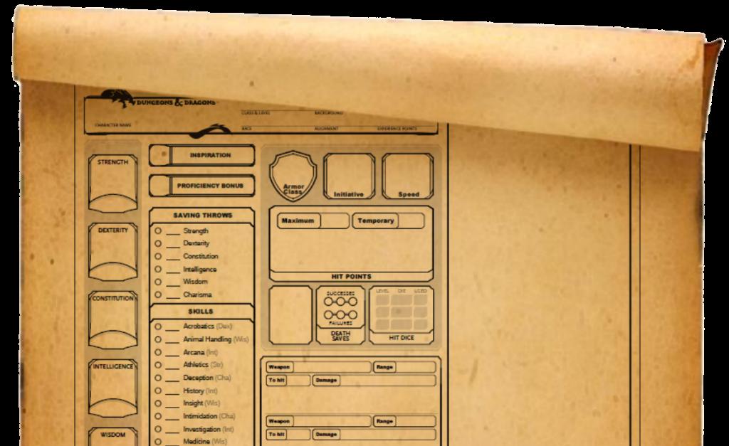 dnd character sheet custom 5e