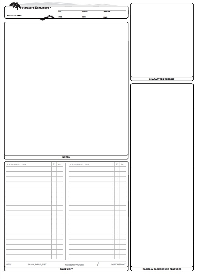 D D Character Sheet 5e Fillabe A4 Paper Size Free Download